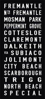 Fremantle to Trigg via Dalkeith Tram Destination Roll Word Art Fremantle - Full Line