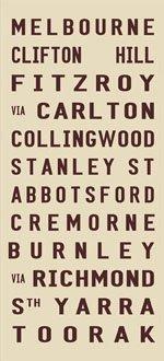 MELBOURNE destination canvas art print, vintage subway sign art