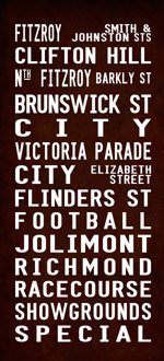 australia tram scroll, FITZROY bus scroll, destination print art