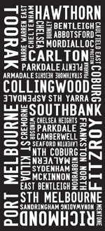 Melbourne Suburbs modern tram and bus sign art, train sign art