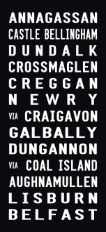 ANNAGASSAN tram scroll, destination canvas, belfast bus scroll