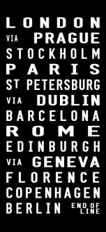 European Tram Scroll, vintage bus signs art prints