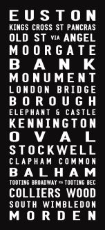 Northern Line tram scroll, bus canvas art, destination sign art