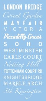 London blue tram scroll, bus scrolls,personalized subway art