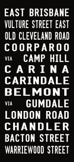 EAST BRISBANE bus destination canvas print, subway sign art print