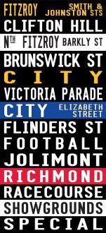 Vintage Fitzroy to the Racecourse via Flinders Street Canvas Word Art|Fitzroy - Full Line