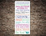 House Rules Typography Bus Sign Destination Art on Canvas