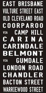 East Brisbane to Bacton Street Vintage Tram Scroll Word Art|East Brisbane - Full Line