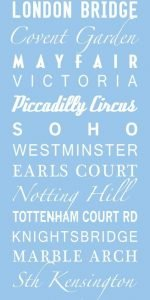London Blue Bus and Tram Sign Canvas Art Print|London-Multi-Font-style-Pastel