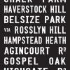 Primrose Hill via Belsize Park London Bus Destination Art|Primrose Hill - Full Line