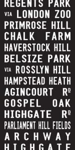 Primrose Hill via Belsize Park London Bus Destination Art|Primrose Hill - Full Line