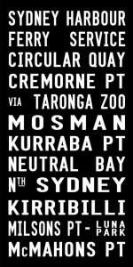 Sydney Harbour Ferry Service Tram Scroll Art|Sydney Harbour - Full Line