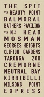 The Spit to Milsons Point via Mosman Tram Banner|The Spit - full Line - beige