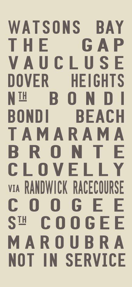Watsons Bay to Maroubra via Sydney's Eastern Beaches Tram Banner Art|Watsons Bay - Full Line - beige