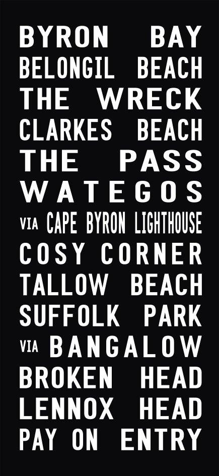 Byron Bay to Lennox Head Tram Scroll Canvas Print|Tram Banner Bus Scroll Port Melbourne Art|Byron Bay - Full Line